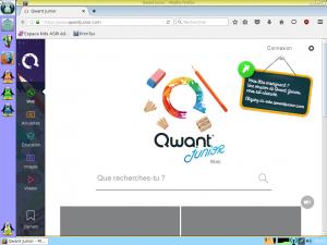 Page d'accueil du navigateur web adaptée