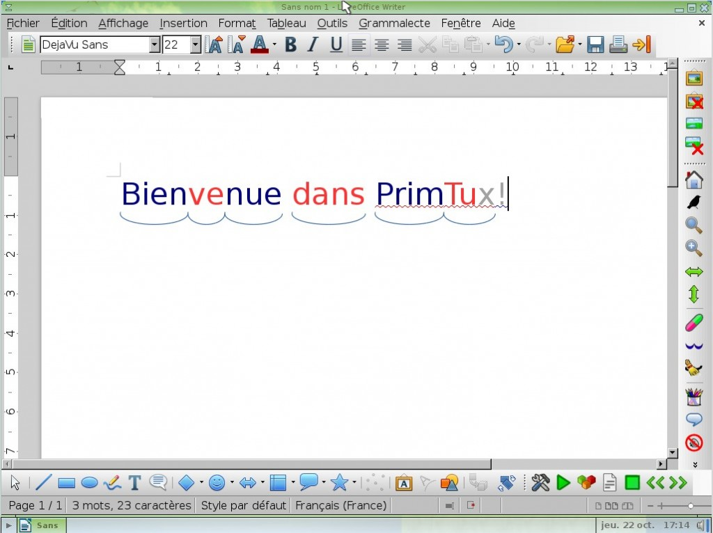 Interface adaptée du logiciel de traitement de texte